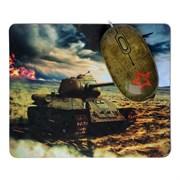 (1006248) Мышь сувенирная+ коврик CBR Tank Battle,  1200 dpi, рисунок, USB, Tank