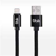 (1012439) USB кабель Ubik UL01 Lightning Carbon 2A (1,2m) black
