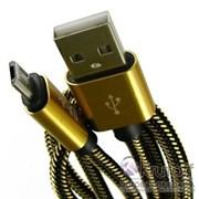 (1013441) USB кабель micro Ubik UM01 Carbon 2A (1,2m) gold