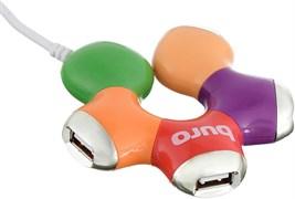 (1016202) Разветвитель USB 2.0 Buro BU-HUB4-0.5-U2.0-Flower 4порт. разноцветный