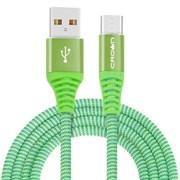 (1016598) Кабель Crown USB - USB Type-C CMCU-3102C green; круглый; в тканевой оплётке; коннекторы Метал; ток 2А; 100 см; цвет зелёный