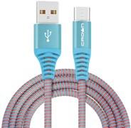 (1016597) Кабель Crown USB - USB Type-C CMCU-3102C blue; круглый; в тканевой оплётке; коннекторы Метал; ток 2А; 100 см; цвет синий