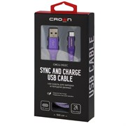 (1016594) Кабель Crown USB - microUSB CMCU-3102M violet; круглый; в тканевой оплётке; коннекторы Метал; ток 2А; 100 см; цвет фиолетовый