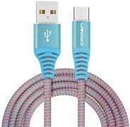(1016592) Кабель Crown USB - microUSB CMCU-3102M blue; круглый; в тканевой оплётке; коннекторы Метал; ток 2А; 100 см; цвет синий