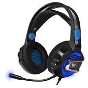 (1017815) Гарнитура игровая с подсветкой и вибрацией CROWN CMGH-3101 Black&blue (Виртуальный звук 7.1, Подключение USB,Частотный диапазон: 20Гц-20,000 Гц ,Кабель 3.2м, Динамки 50мм, регулировка громкости на чашке+пульте, микрофон на гибкой ножке)