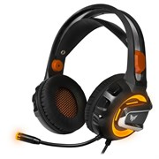 (1017816) Гарнитура игровая с подсветкой и вибрацией CROWN CMGH-3103 Black&orange (Виртуальный звук 7.1, Подключение USB,Частотный диапазон: 20Гц-20,000 Гц ,Кабель 3.2м, Динамки 50мм, регулировка громкости на чашке+пульте, микрофон на гибкой ножке)