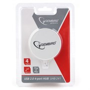 (1018845) Концентратор USB 2.0 Gembird UHB-241, 4 порта, блистер, белый