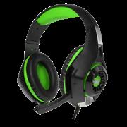 (1019666) Гарнитура игровая с подсветкой CROWN CMGH-2102 Black&green (Виртуальный звук 7.1, Подключение USB, Частотный диапазон: 20Гц-20,000 Гц , Кабель 3.2м, Динамки 50 мм, регулировка громкости, микрофон на поворотной ножке)