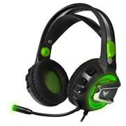 (1019667) Гарнитура игровая с подсветкой и вибрацией CROWN CMGH-3102 Black&green (Виртуальный звук 7.1, Подключение USB,Частотный диапазон: 20Гц-20,000 Гц ,Кабель 3.2м, Динамки 50мм, регулировка громкости на чашке+пульте, микрофон на гибкой ножке)