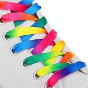 (1019998) Шнурки с плоск сечением 8мм 110см Радуга (пара) 2565924