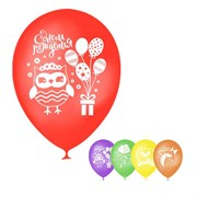 """(1020928) Шар воздушный 12"""" """"День рождения"""", детские персонажи, пастель, 1 ст., набор 5 шт, МИКС   4012381"""