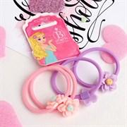 """(1020927) Резинка для волос """"Лилия"""" (набор 4 шт) розовый, сиреневый   4349364"""