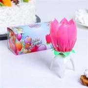 """(1021433) Свеча для торта музыкальная """"Тюльпан"""", розовая, 12×5 см 252694"""