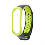 (1021888) Ремешок для фитнес-браслета Mi Band 3/4 LuazON, с перфорацией, черно-зеленый   4780574