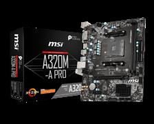 (1019327) Материнская плата MSI A320M-A PRO Soc-AM4 AMD A320 2xDDR4 mATX AC`97 8ch(7.1) GbLAN RAID+DVI+HDMI