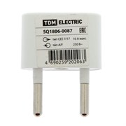 (1023376) Переходник TDM, 10 А, 250 В, тип CEE 7/17 - тип А/F, плоский, белый 2322710