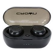 (1020071) Беспроводные наушники CROWN CMTWS-5001 black (Bluetooth 5.0, батарея в кейсе 340мАч, батарея в наушниках 60мАч, время воспроизведения до 9 часов при использовании зарядного чехла, перемотка треков, регулировка громкости, вызов голосового по