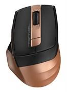 (1019052) Мышь A4 Fstyler FG35 золотистый/черный оптическая (2000dpi) беспроводная USB (6but)
