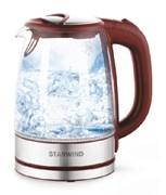 (1024324) Чайник Starwind SKG2419 1.7л. 2200Вт бордовый/серебристый (стекло)