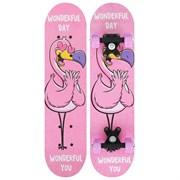 """(1024773) Скейтборд подростковый """"Фламинго"""" 62 х 16 см, колеса PVC 50 мм, пластиковая рама   4636093"""