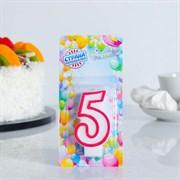 """(1023762) Свеча для торта цифра """"5"""" ободок цветной, МИКС 403515"""