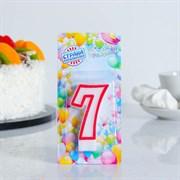 """(1023764) Свеча для торта цифра """"7"""" ободок цветной, МИКС 403517"""
