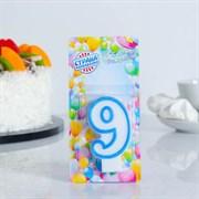 """(1023766) Свеча для торта цифра """"9"""" ободок цветной, МИКС 403519"""