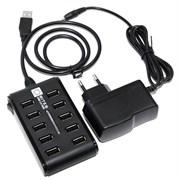 (1010655) Концентратор 5bites HB210-205PBK 10*USB2.0 / БП 5В-2А / 1M / BLACK