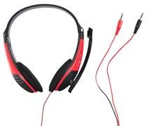 (1009601) Наушники с микрофоном Oklick HS-M150 черный/красный 2м накладные (NO-003N)