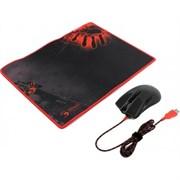 (1008837) Набор Мышь + коврик A4 Bloody A9081 черный оптическая (4000dpi) USB2.0 игровая (8but)