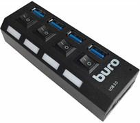 (1008910) Разветвитель USB 3.0 Buro BU-HUB4-U3.0-L 4порт. черный