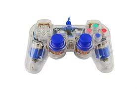 (1007260) Проводной USB геймпад Oxion OGP02BL с вибрацией и LED подсветкой, 1.5м, синий (OGP02BL)