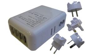 (176137)  Espada E-04UU белый, универсальный сетевой переходник для розеток (вилок)  EU, US, RU (A, C, G, i) с 4 USB портами 2,1А