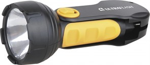 (1010622) Фонарь Ultraflash LED3828 (аккум 220В, черный/желтый, 1LED 0,5Вт, SLA, пласт, склад. вил коробка) (5)(60)